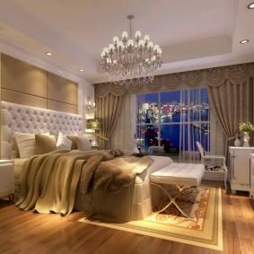 Освещение спальни с телевизором на стене