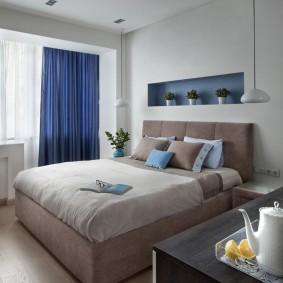 Синие шторы из плотного материала