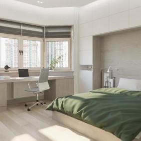 Дизайн просторной спальни с эркером