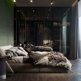 темные тона в интерьере спальни