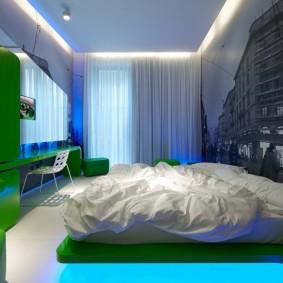 Декоративная подсветка в спальной комнате