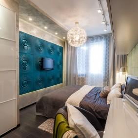 Объемные панели в отделки спальной комнаты