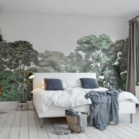 Фотообои на акцентной стене спального помещения