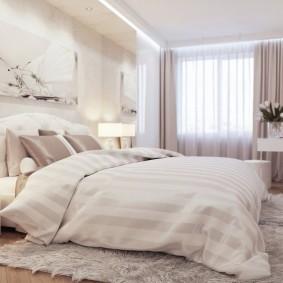 Белая мебель в прямоугольной спальне