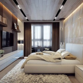 Ламинированные панели на потолке спальни