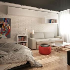 Спальня-гостиная с потолком черного цвета