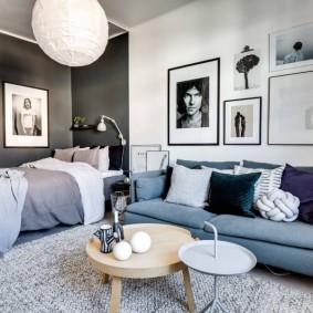 Зонирование цветом стен интерьера спальни гостиной
