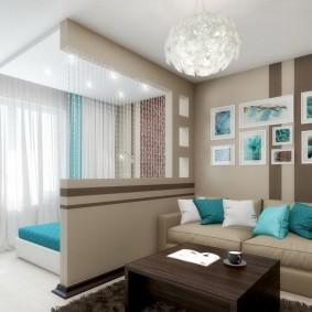 Зонирование потолком совмещенной комнаты