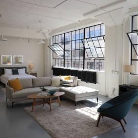 Зонирование мебелью квартиры студийной планировки