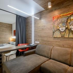Деревянные панели в отделе комнаты этнического стиля