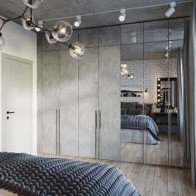 Встроенный шкаф в спальне лофт стиля