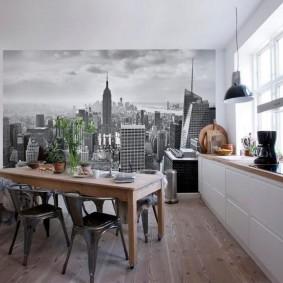 Серые фотообои на стене кухни