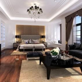 Подсветка потолка комнаты с черной мебелью