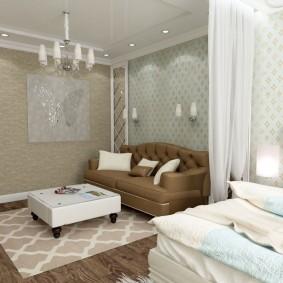 Зонирование красивыми обоями небольшой комнаты