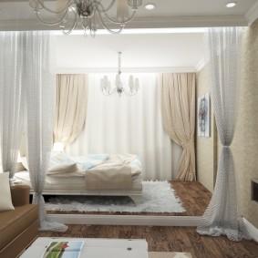 Дизайн маленькой квартиры с кроватью на подиуме