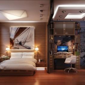 Дизайн комнаты с гостиной и спальней