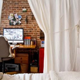 Белая штора из хлопковой ткани