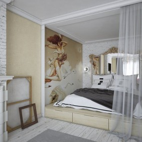 Фотообои в спальной зоне общей комнаты
