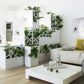 Декор живыми растениями жилой комнаты