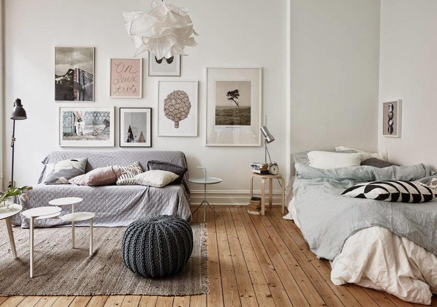 Меблировка гостевой комнаты в стиле сканди