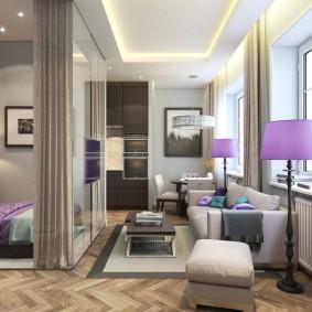 гостиная и спальня в одной комнате декор идеи
