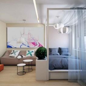 гостиная и спальня в одной комнате обзор