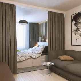 гостиная и спальня в одной комнате фото дизайна