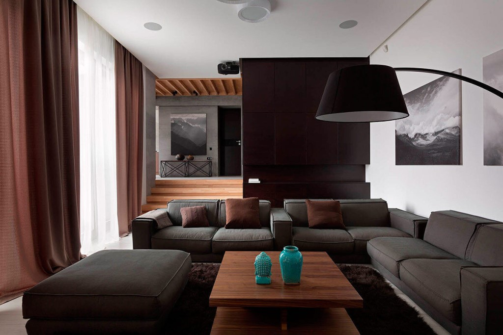 гостиная интерьер в темных тонах