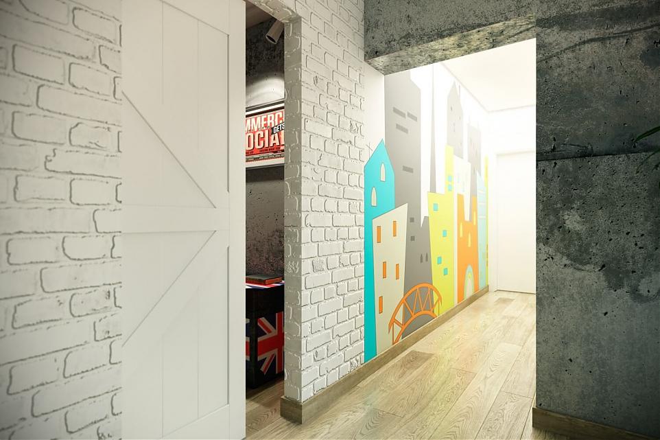 Интерьер прихожей в стиле лофт с граффити на стене