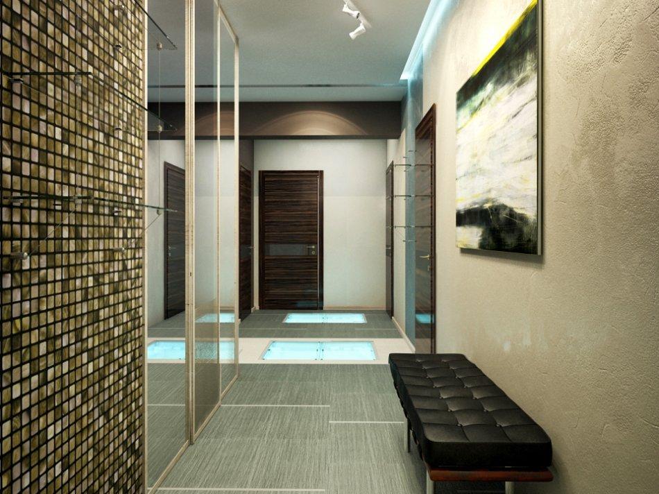 Декорирование стен большой прихожей в стиле хай-тек