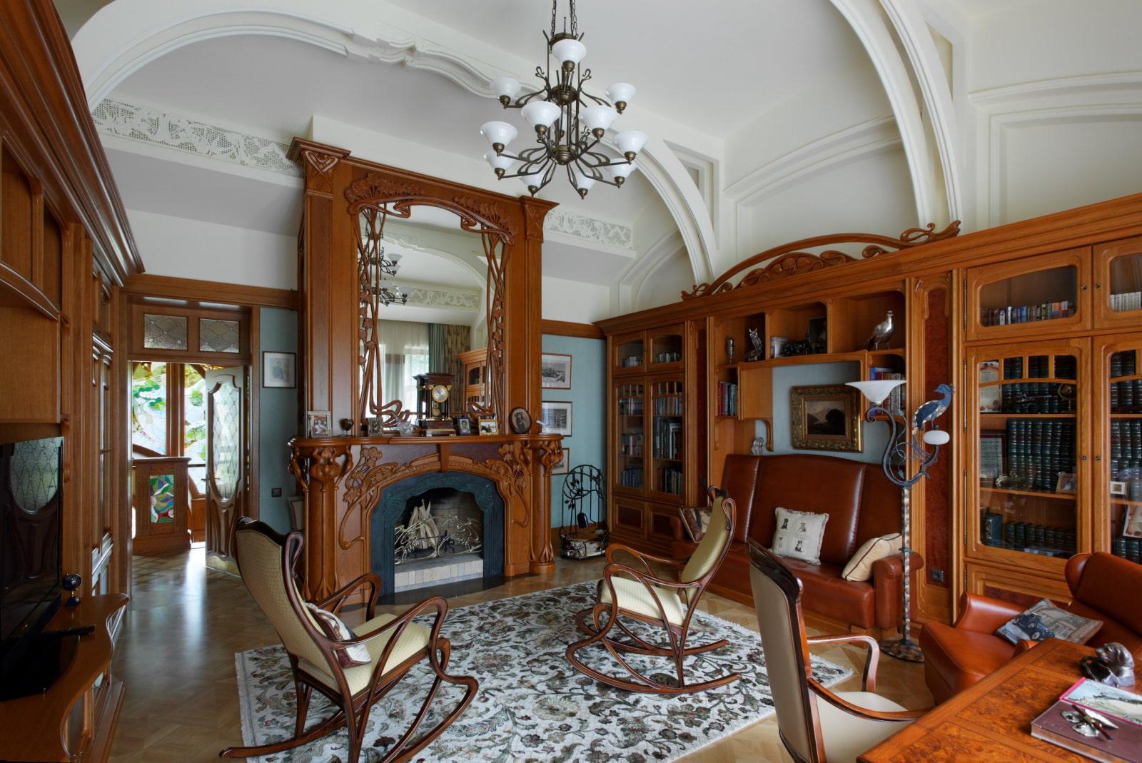 интерьер в стиле модерн с деревянной мебелью