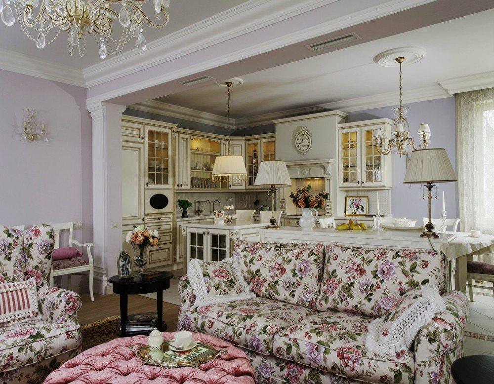 интерьер в стиле прованс с розовым