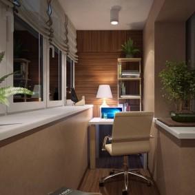Рабочий кабинет на лоджии в спальне-гостиной