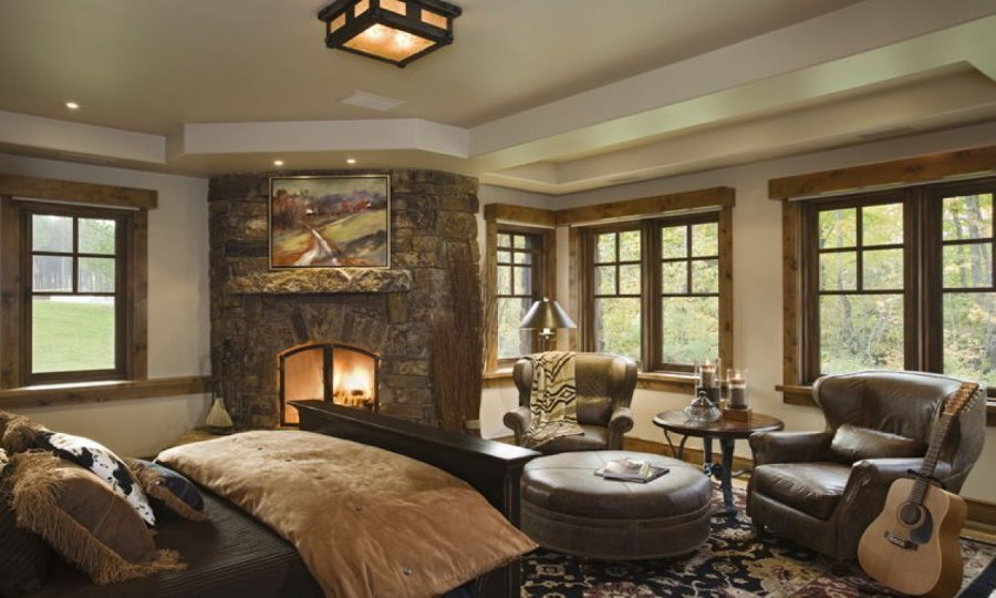 Спальня-гостиная в стиле кантри в загородном доме