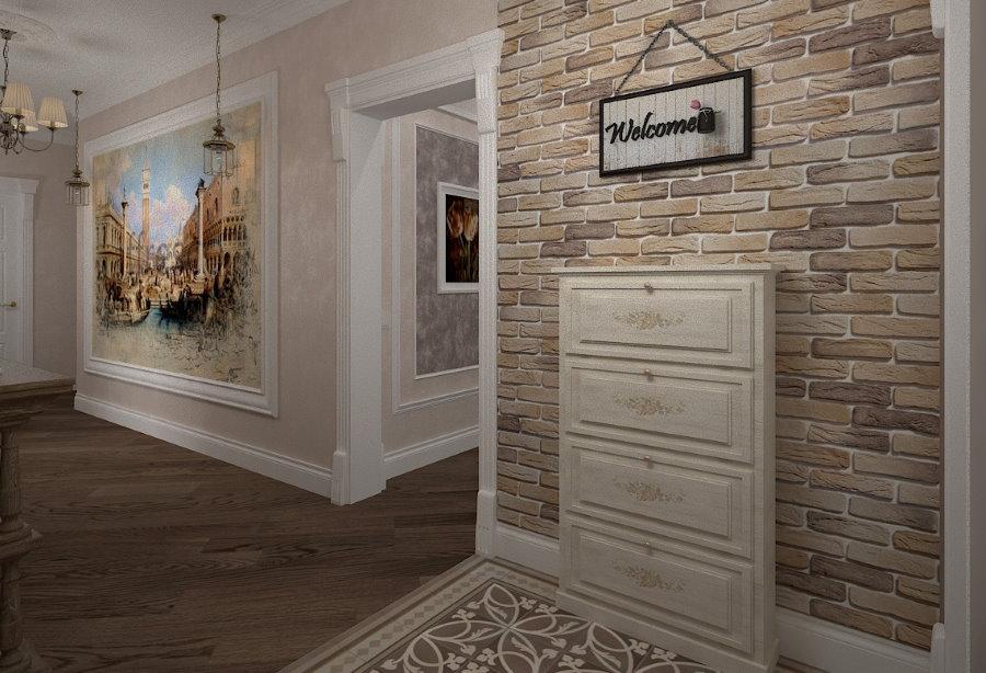 Отделка под кирпич стены в прихожей классического стиля