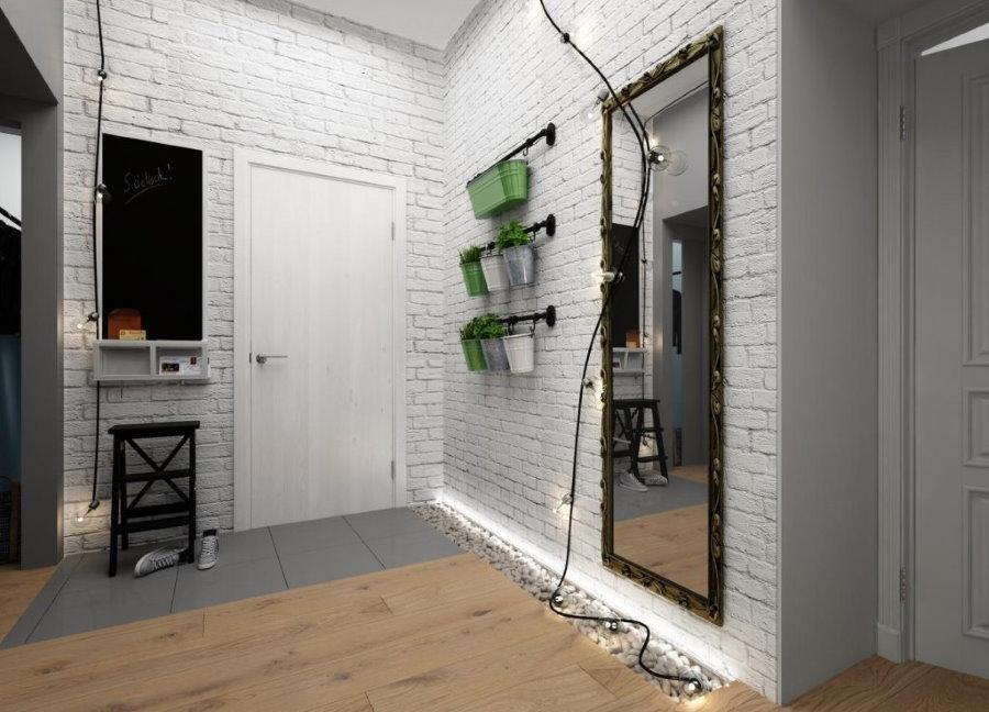 Белый кирпич в интерьере прихожей индустриального стиля