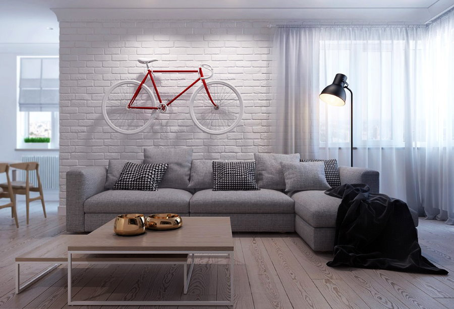 Кирпичные обои в интерьере гостиной минималистического стиля
