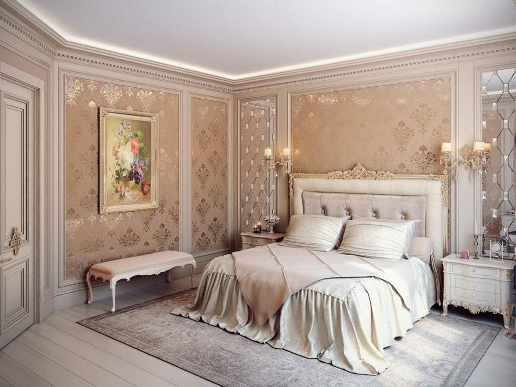 Интерьер спальни в стиле классики площадью 20 кв метров