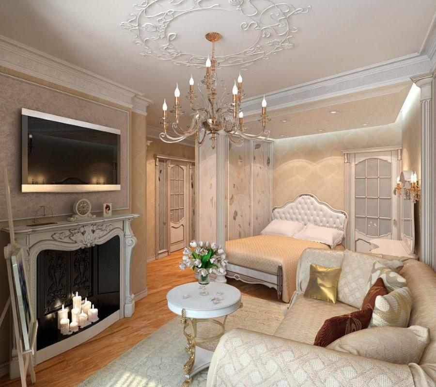 Декоративный камин в спальне-гостиной классического стиля