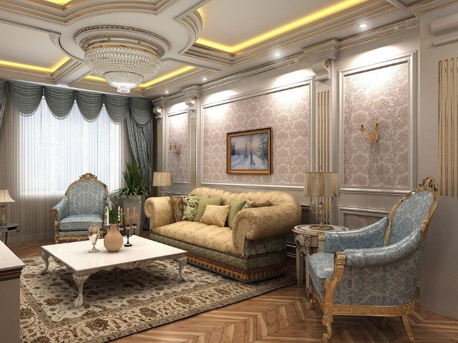 Отделка стен и потолка в гостиной классического стиля