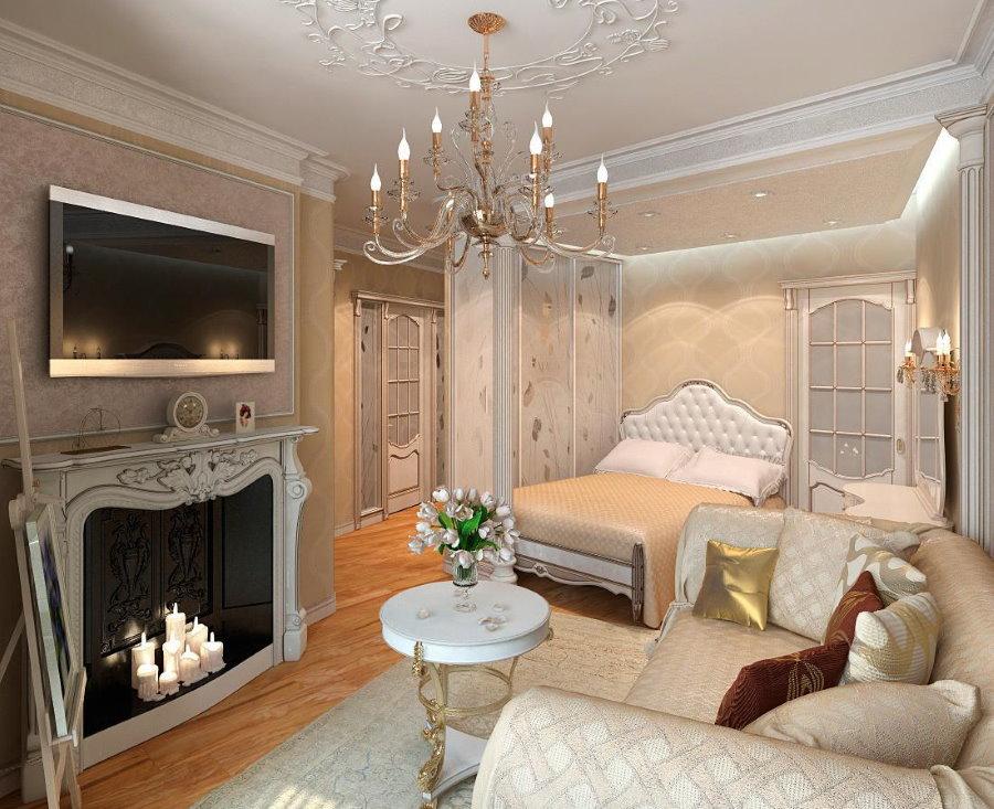 Уютная спальня-гостиная в классическом стиле интерьера