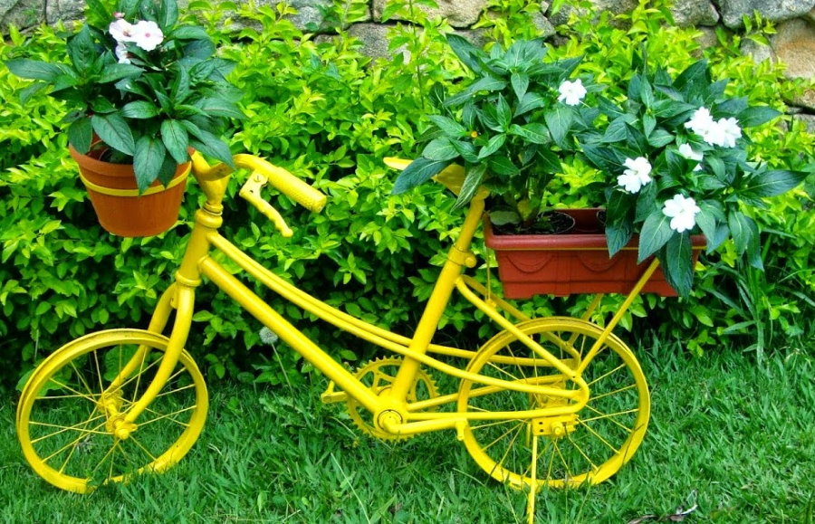 Клумба из детского велосипеда на садовом участке