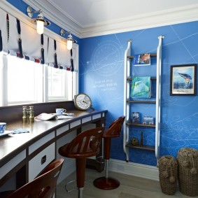 комната в морском стиле оформление идеи