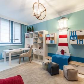 комната в морском стиле идеи оформление