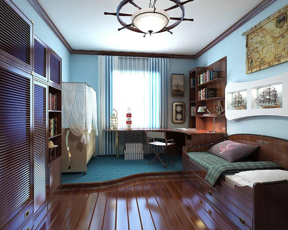 комната в морском стиле освещение
