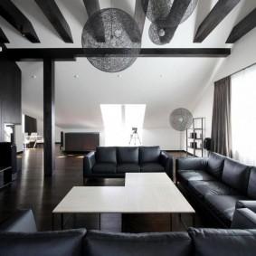 комната в тёмных тонах идеи дизайна