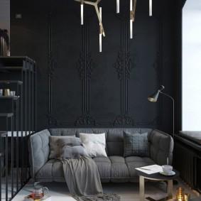 комната в тёмных тонах декор фото