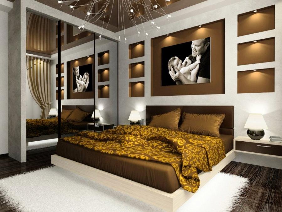 Декоративная подсветка коричневых ниш в спальне