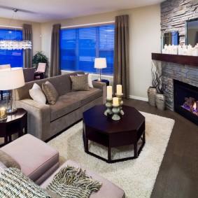 коричневый диван в гостиной дизайн идеи