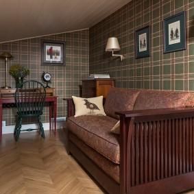 коричневый диван в гостиной декор фото